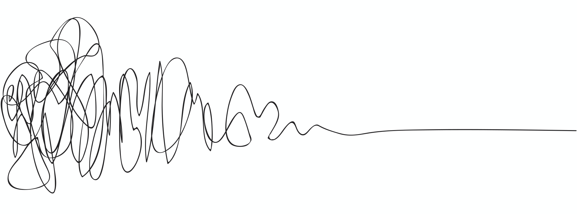 The Design Squiggle by Damien Newman - a squiggly tangled mess moving into a simple straight line, that demonstrates how the design process moves people from uncertainty to certainty.